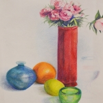Still Life of flower and vases.