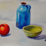 Still life with ceramics and an apple