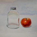Still life with glass jar and apple