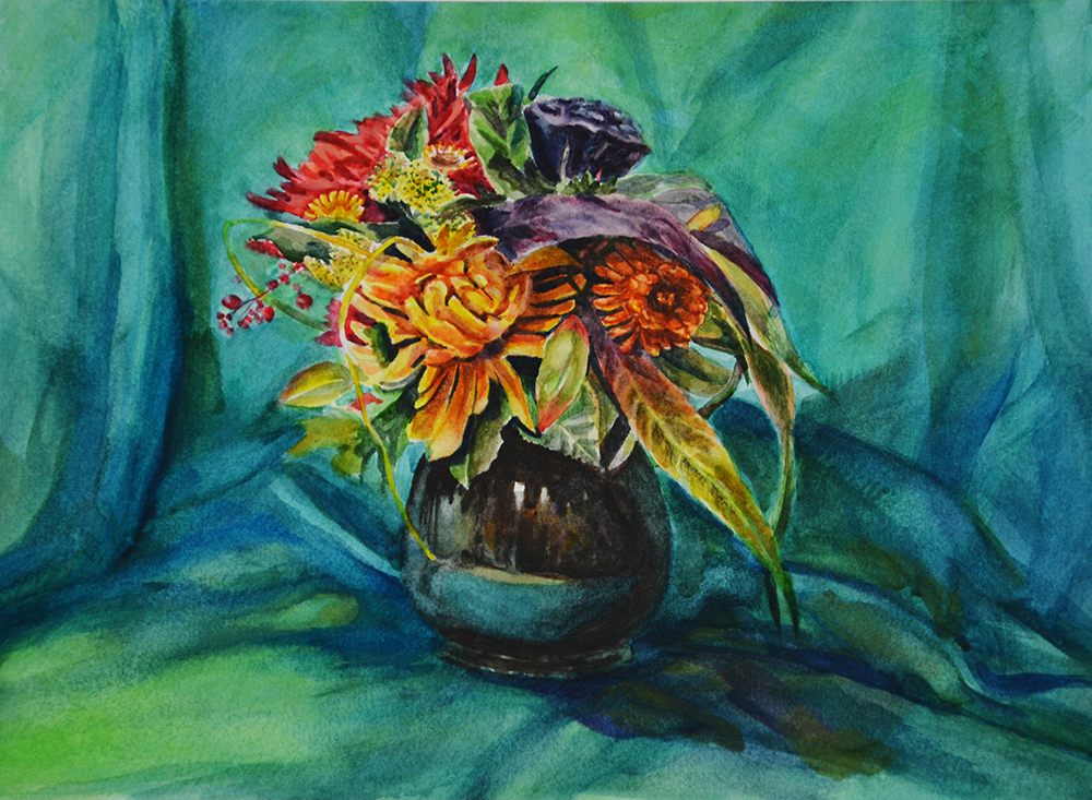 First Fine Art Lisa Flower Vase Painting